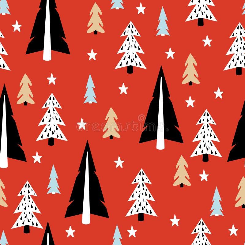 Het naadloze patroon van de Kerstmisboom stock illustratie