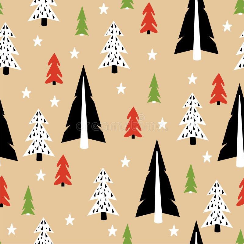 Het naadloze patroon van de Kerstmisboom royalty-vrije illustratie