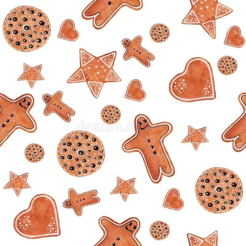Het naadloze patroon van de Kerstmiswaterverf met de mens van peperkoekkoekjes, ster, hart, een cirkel stock illustratie