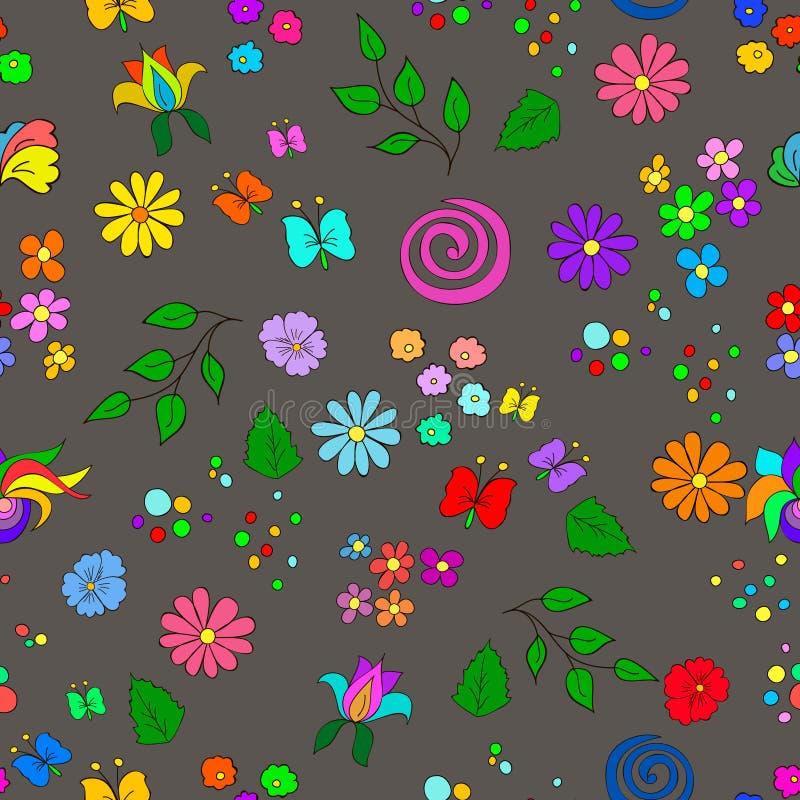 Het naadloze patroon van de kinderen` s zomer met bloemen, bladeren, wervelingen en vlinder stock illustratie