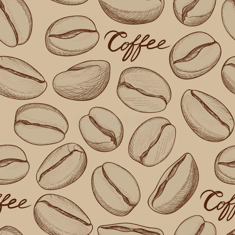 Het naadloze patroon van de koffie Hand-drawn schets van koffiebonen Hete dri stock illustratie