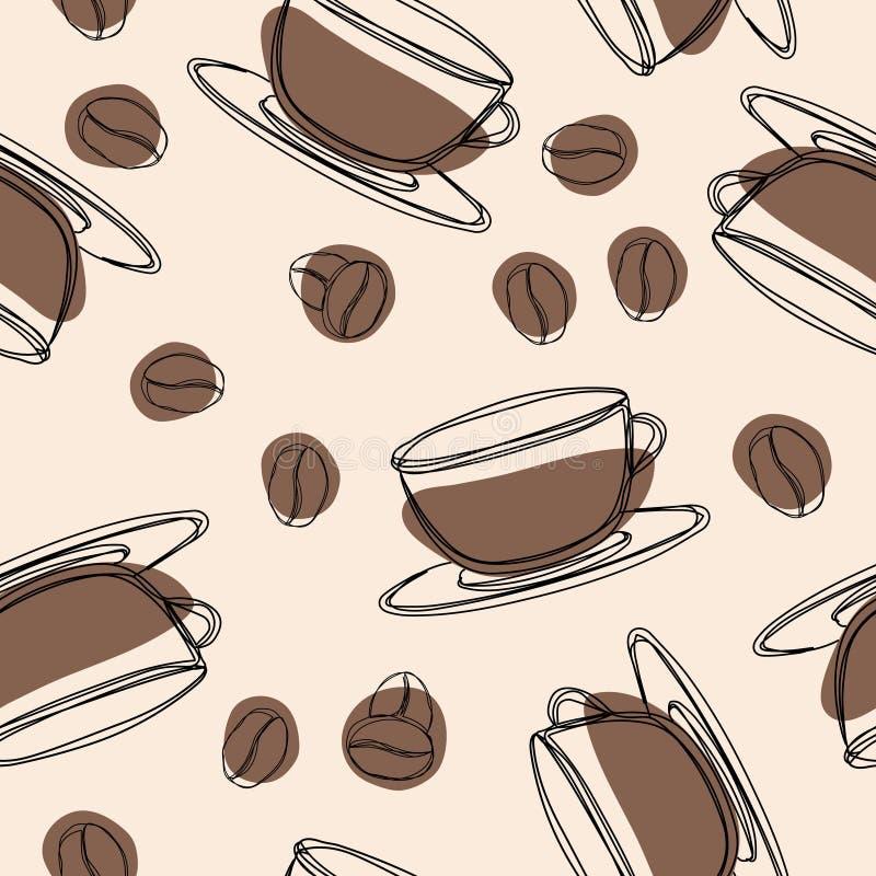 Het naadloze patroon van de koffie De hand getrokken achtergrond van de krabbelkoffie Vector illustratie vector illustratie