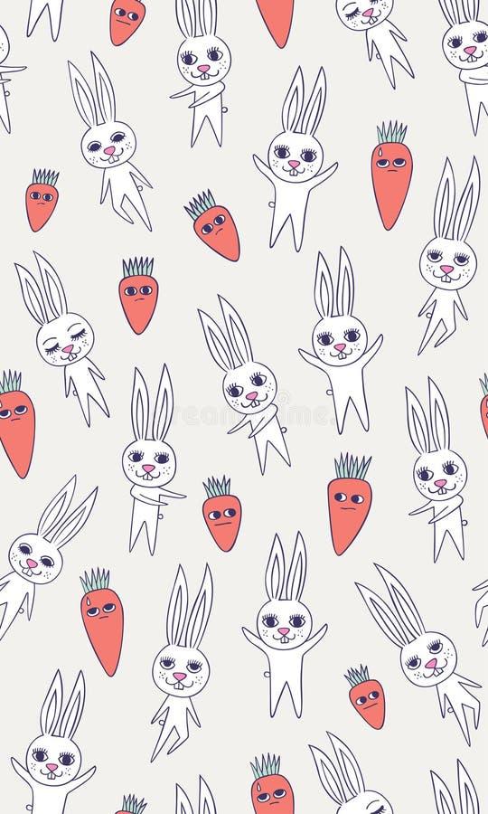 het naadloze patroon van de konijnwortel stock illustratie