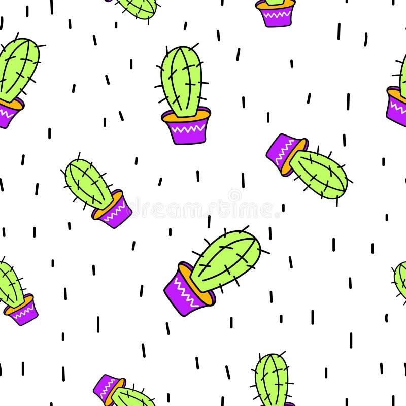 Het naadloze patroon van de krabbelcactus op witte achtergrond Hand-drawn vectorillustratie van de jonge geitjesstijl Bloementext royalty-vrije stock afbeelding
