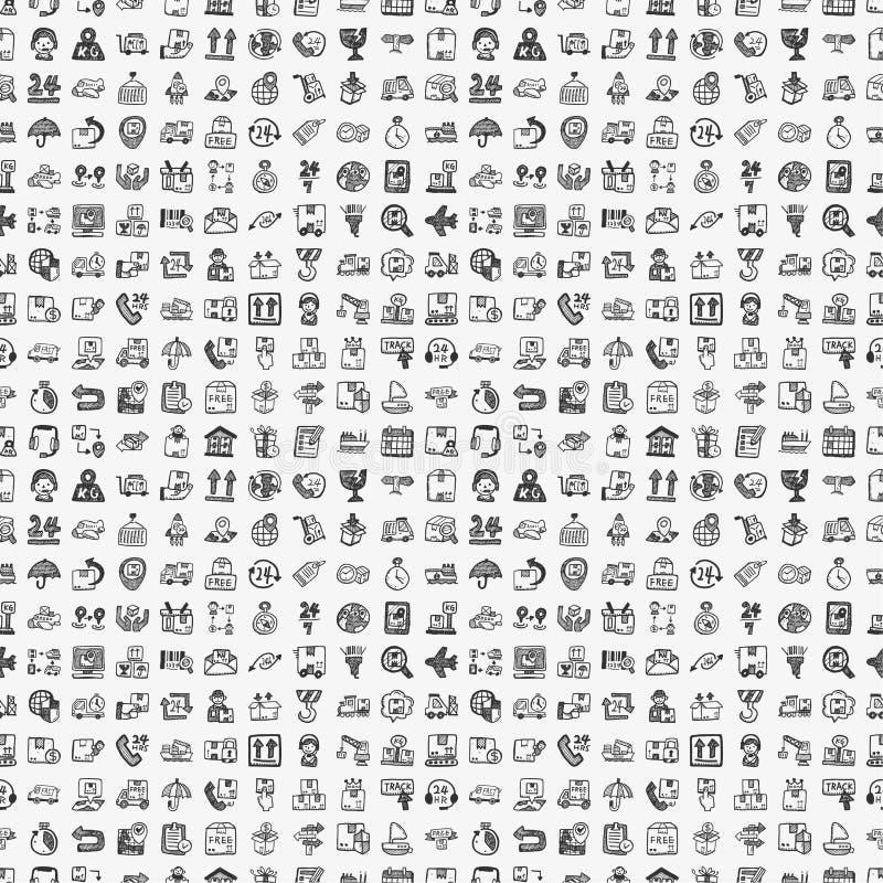 Het naadloze patroon van de krabbellogistiek vector illustratie