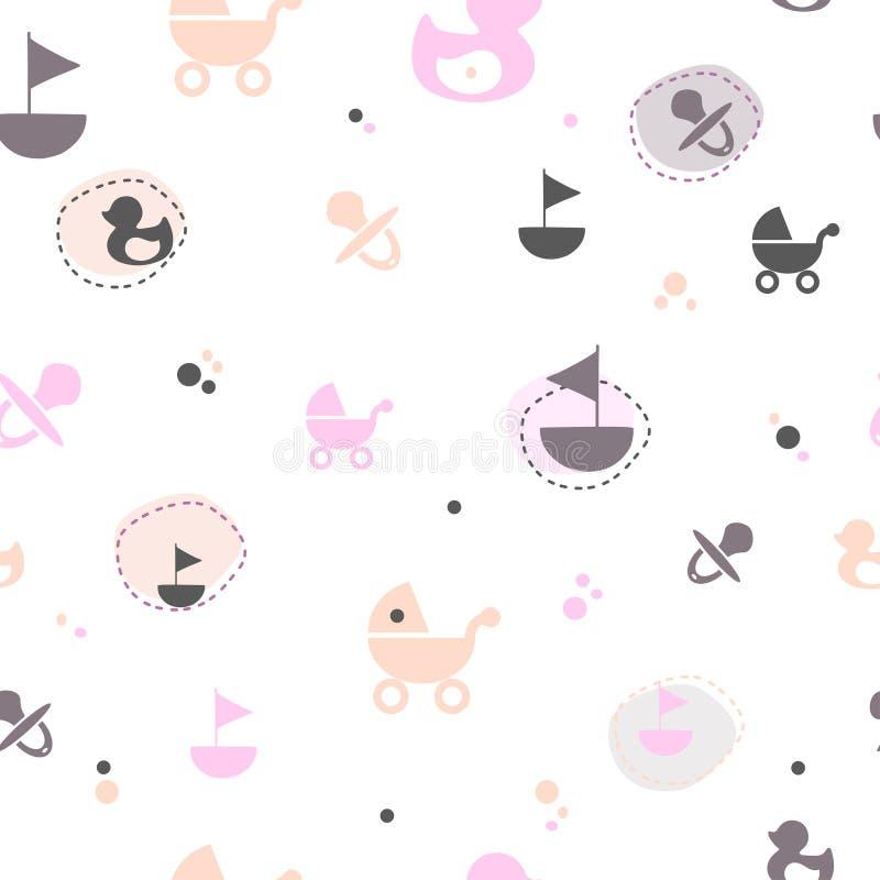 Het naadloze patroon van de krabbelstijl op het thema van kinderjaren Vectorillustratie voor kinderenontwerp vector illustratie