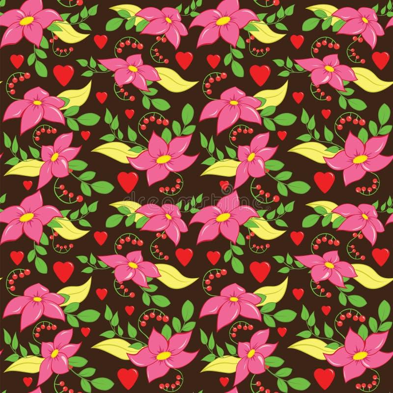 Het naadloze Patroon van de Liefdebloem stock illustratie