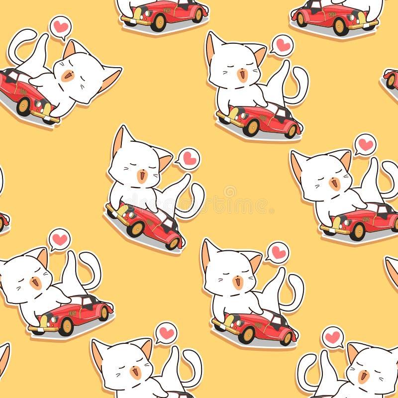 Het naadloze patroon van de de liefdes uitstekende auto van de kawaiikat stock illustratie