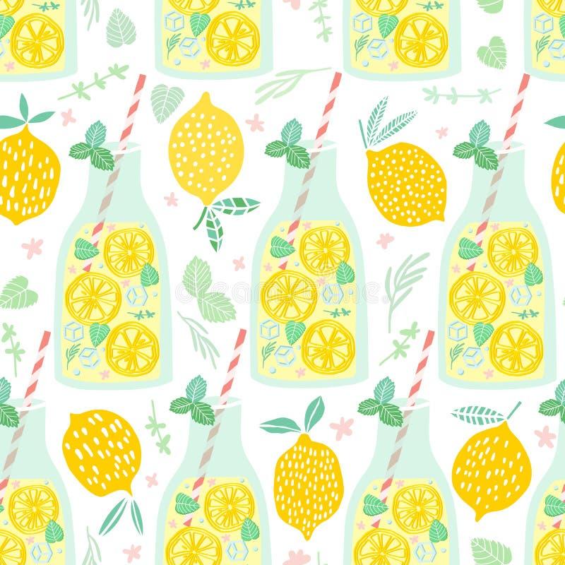 Het naadloze patroon van de limonade Citroen achtergrondillustratie stock illustratie