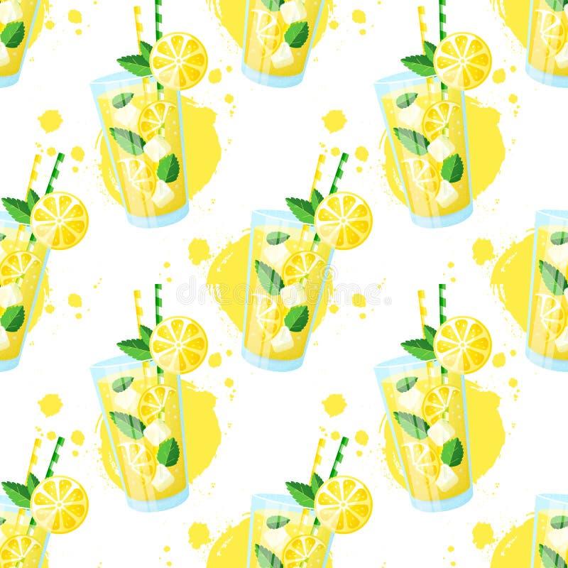 Het naadloze patroon van de limonade Het kan voor prestaties van het ontwerpwerk noodzakelijk zijn royalty-vrije illustratie
