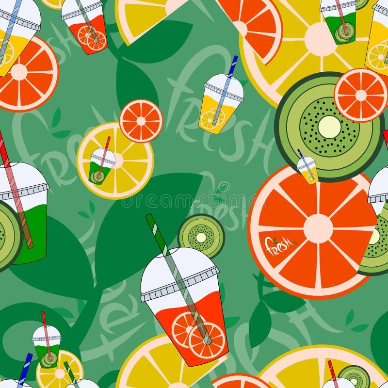 Het naadloze patroon van de limonade Verse Vruchten Vector illustratie vector illustratie