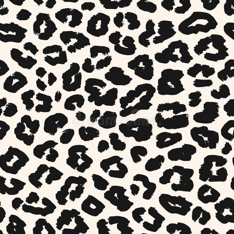 Het naadloze patroon van de luipaard Zwart-witte vectorachtergrond Dierlijke huiddruk royalty-vrije illustratie