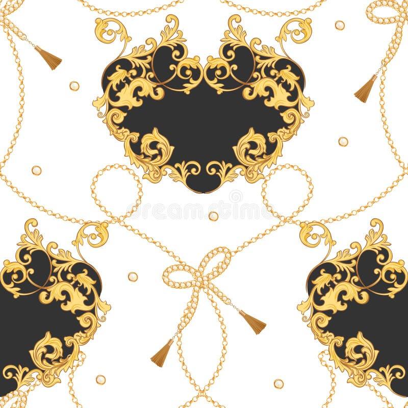 Het Naadloze Patroon van de manierstof met Gouden Kettingen, Riemen en Riemen De Juwelenelementen luxe Barokke van het Achtergron stock illustratie