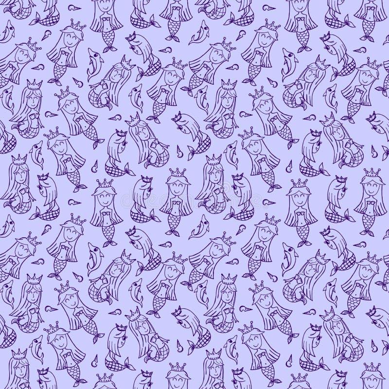 Het naadloze patroon van de meerminkrabbel Purpere en witte het beeldverhaal vectorillustratie van de lijnkunst stock illustratie