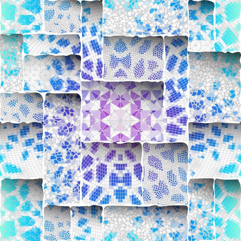 Het naadloze patroon van de mozaïekkunst stock illustratie