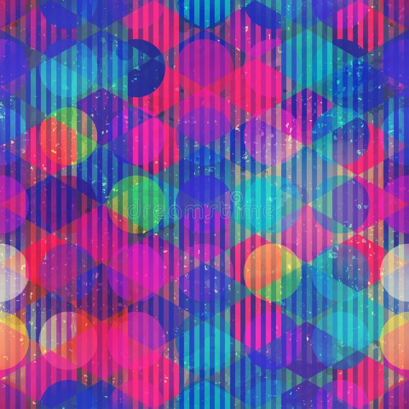 Het naadloze patroon van de neoncirkel stock illustratie
