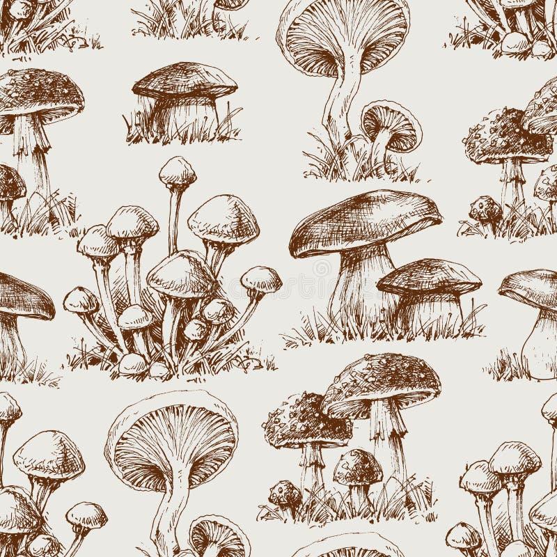 Het naadloze patroon van de paddestoel stock illustratie