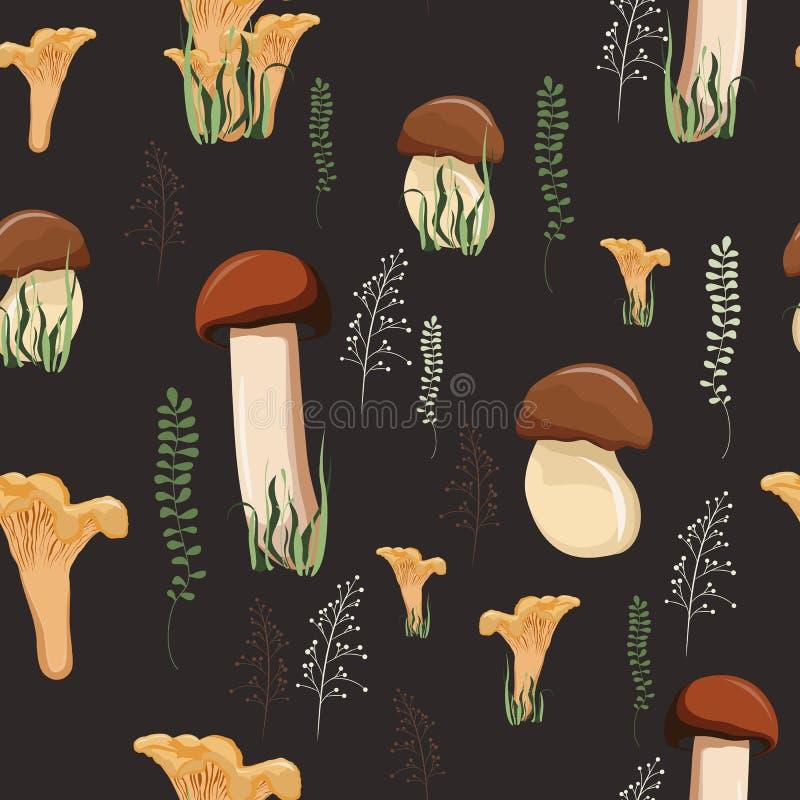 Het naadloze patroon van de paddestoelherfst met bos wilde paddestoelen en kruiden royalty-vrije illustratie