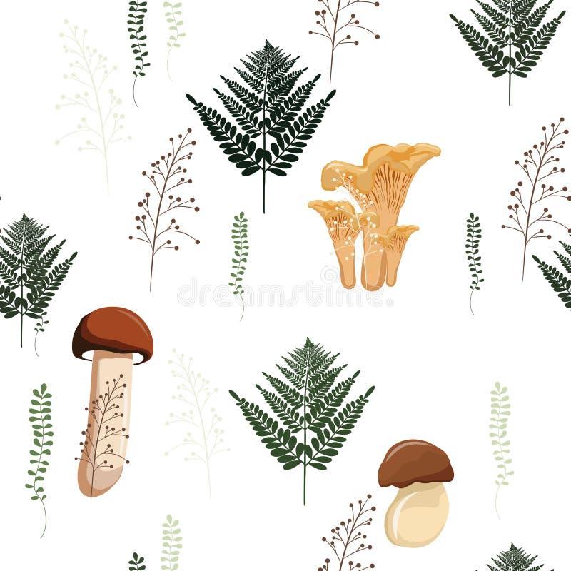 Het naadloze patroon van de paddestoelherfst met bos wilde paddestoelen, varen en kruiden De stijlillustratie van het beeldverhaa stock illustratie