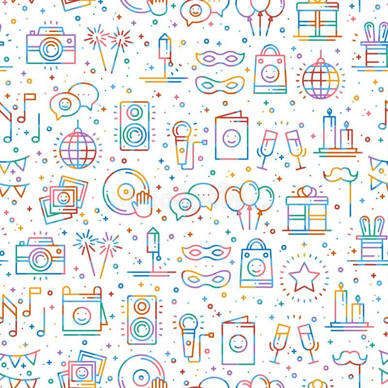 Het naadloze patroon van de partijviering Verjaardag, vakantie, gebeurtenis, feestelijk Carnaval De elementen van het partijdecor stock illustratie