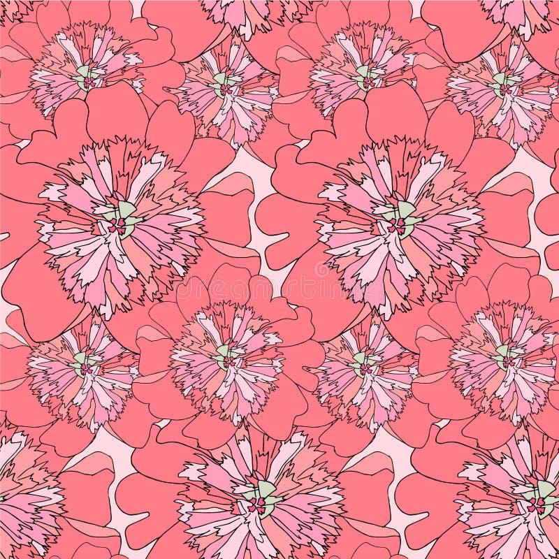 Het naadloze patroon van de pioen Roze van het achtergrond bloem dun zwart overzicht ontwerpelement vector illustratie
