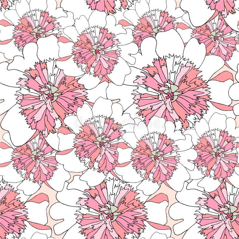 Het naadloze patroon van de pioen Roze wit van het achtergrond bloem dun zwart overzicht ontwerpelement royalty-vrije illustratie