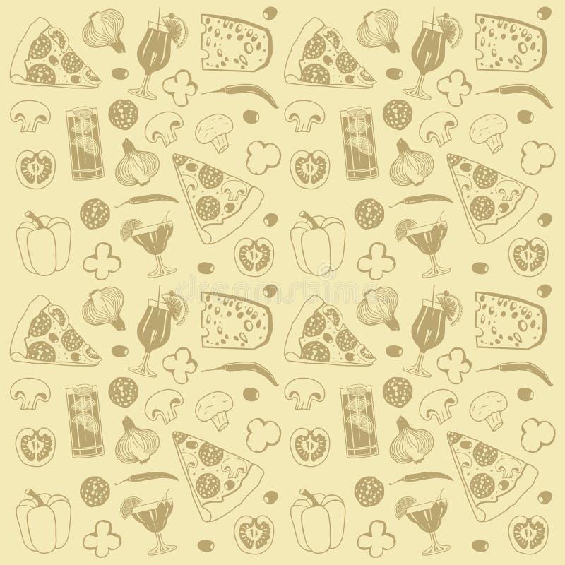 Het naadloze patroon van de pizza royalty-vrije illustratie