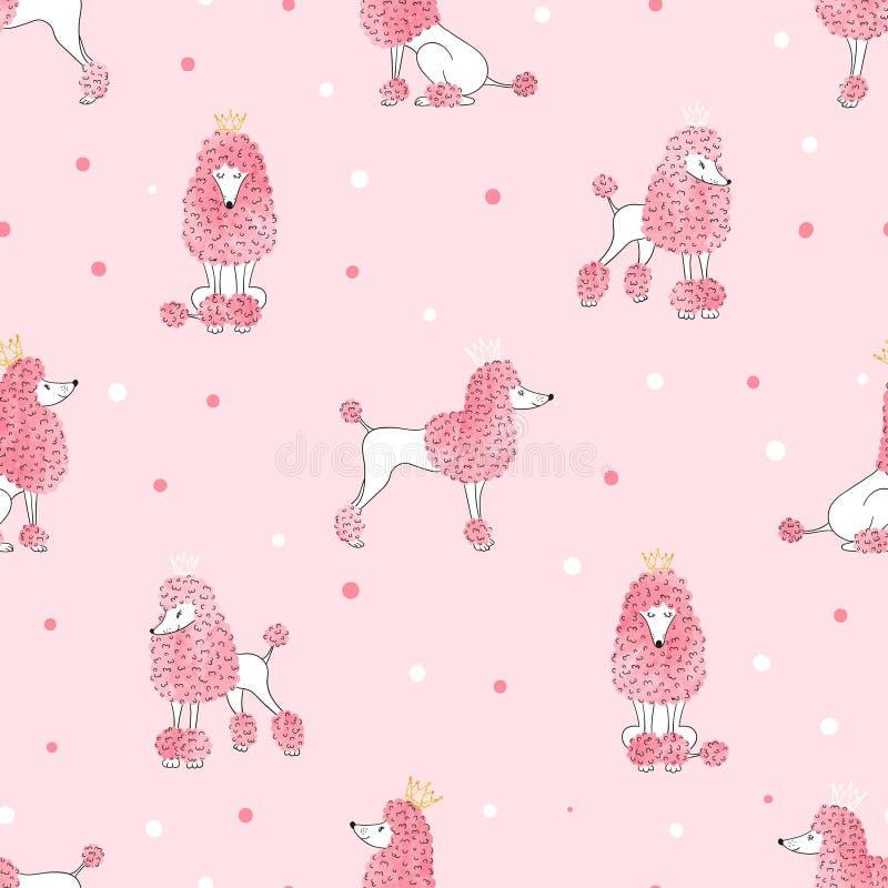 Het naadloze patroon van de poedelhond in roze kleur vector illustratie