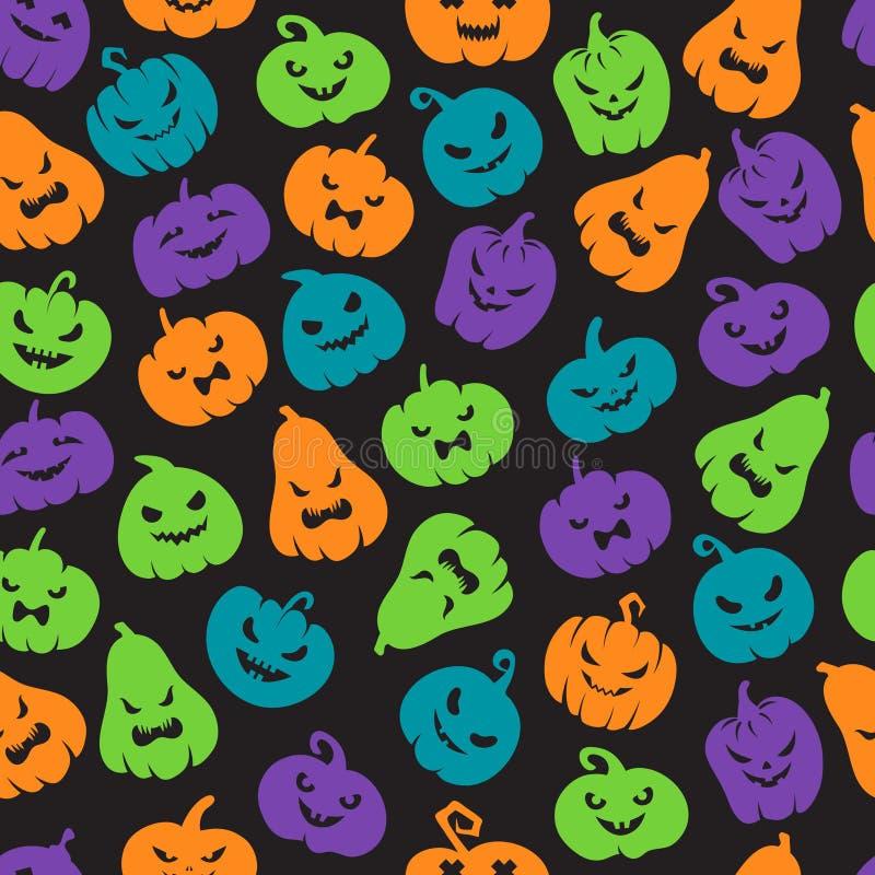 Het Naadloze Patroon van de Pompoenen van Halloween Enge het gezichtssilhouetten van de hefboomo lantaarn De gelukkige vector ein vector illustratie
