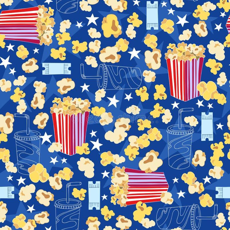 Het Naadloze Patroon van de Popcorn van de bioscoop royalty-vrije illustratie