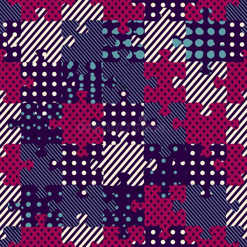 Het naadloze patroon van de raadseldoek stock illustratie
