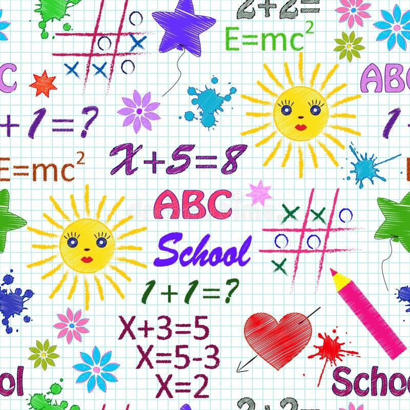 Het naadloze patroon van de school   stock illustratie