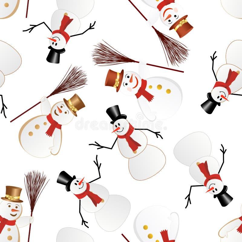Het naadloze patroon van de sneeuwman royalty-vrije illustratie