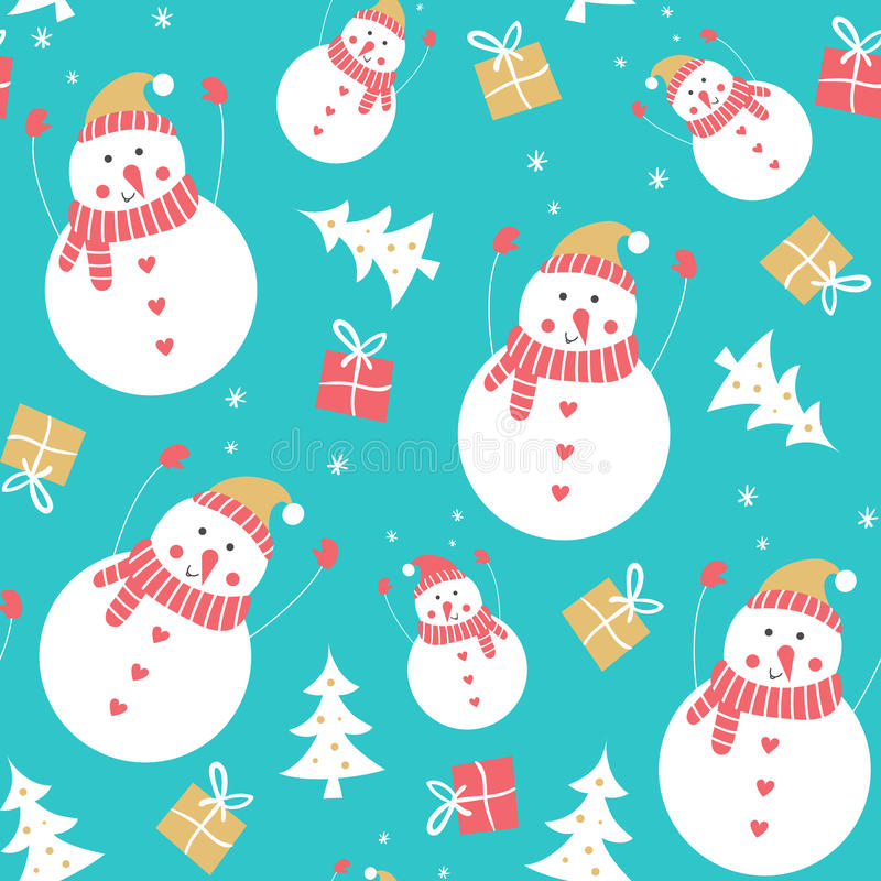 Het naadloze patroon van de sneeuwman vector illustratie