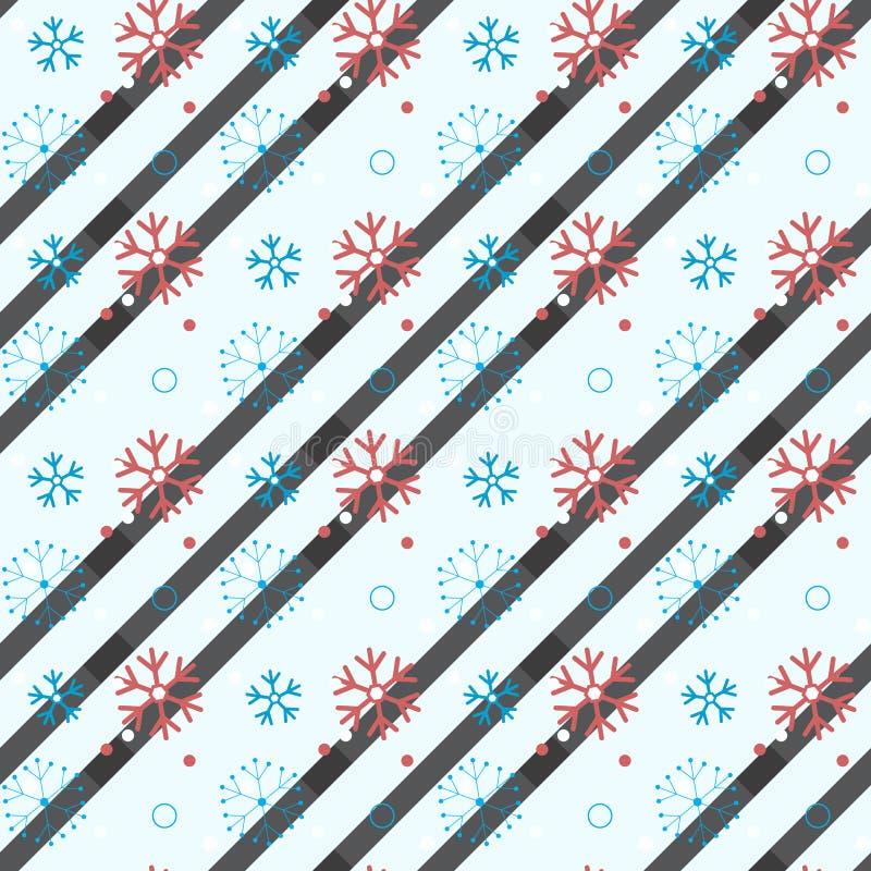 Het naadloze patroon van de sneeuwvlok Sneeuw op witte achtergrond Abstract behang, verpakkende decoratie De symboolwinter, Vroli royalty-vrije illustratie