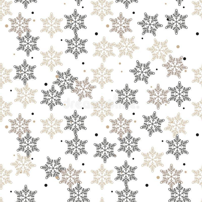 Het naadloze patroon van de sneeuwvlok Witte en bruine retro achtergrond Chaotische elementen Abstracte geometrische vormtextuur  royalty-vrije illustratie