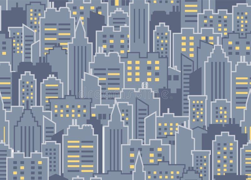 Het naadloze patroon van de stad vector illustratie