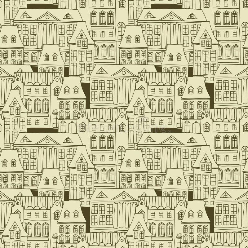 Het naadloze patroon van de stad royalty-vrije illustratie