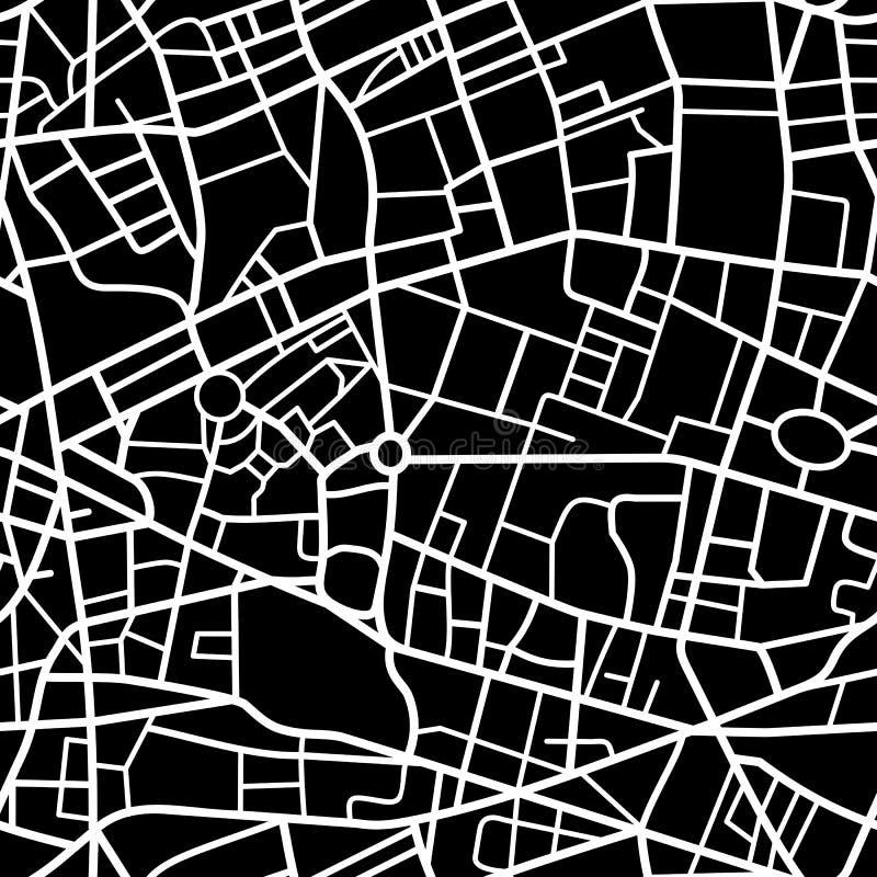 Het naadloze patroon van de stadskaart stock illustratie