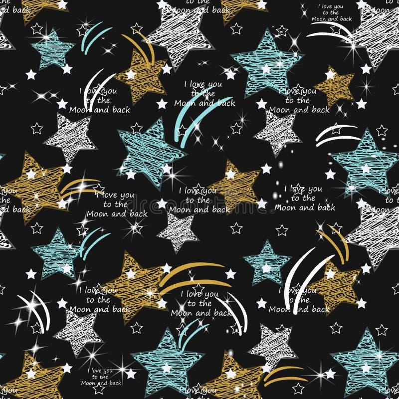 Het naadloze patroon van de ster Textiel de slagentextuur van de inktborstel in krabbel grunge stijl Handdrawn in ontwerp met aut royalty-vrije illustratie