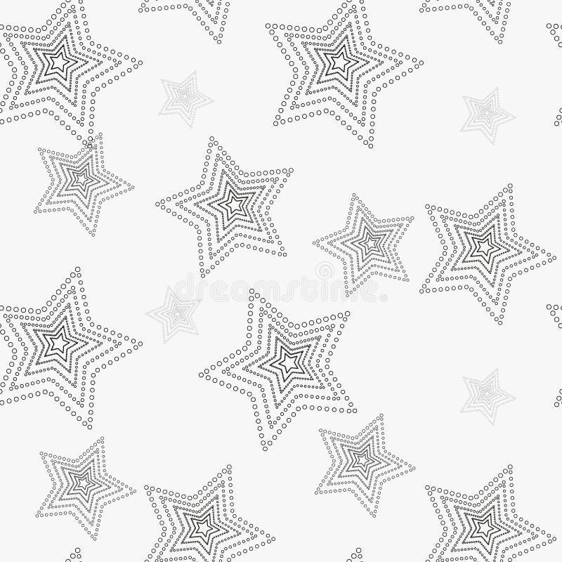 Het naadloze patroon van de ster Witte en grijze retro achtergrond Chaotische elementen Abstracte geometrische vormtextuur Effect vector illustratie