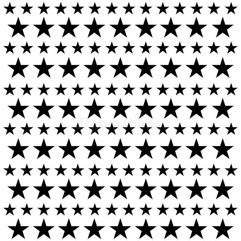 Het naadloze patroon van de ster Witte en zwarte retro achtergrond Chaotische elementen Abstracte geometrische vormtextuur Effect stock illustratie