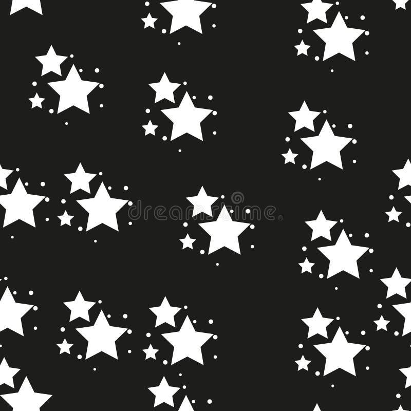 Het naadloze patroon van de ster Zwart-witte retro achtergrond Chaotische elementen Abstracte geometrische vormtextuur Effect van stock illustratie