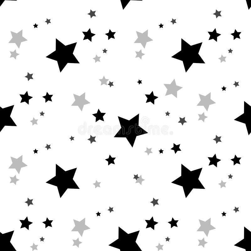 Het naadloze patroon van de ster Zwarte en grijze retro achtergrond Chaotische elementen Abstracte geometrische vormtextuur Effec vector illustratie