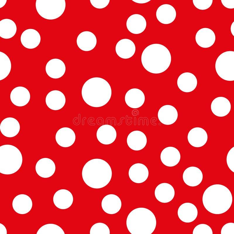 Het naadloze patroon van de Stip Witte punten op rode achtergrond Vector illustratie EPS10 royalty-vrije illustratie