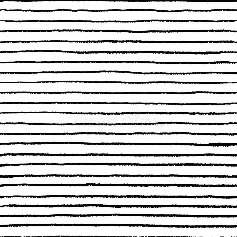 Het naadloze patroon van de streepkrabbel De golvende lineaire borstel van het krabbelwater, hand getrokken abstracte grungeeleme vector illustratie
