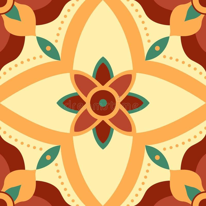 Het naadloze patroon van de symmetriebloem voor tegels stock afbeelding