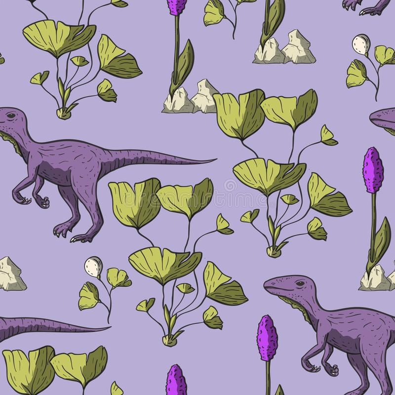 Het naadloze patroon van de Theropoddinosaurus stock illustratie