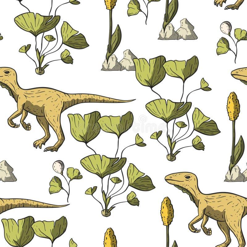 Het naadloze patroon van de Theropoddinosaurus vector illustratie