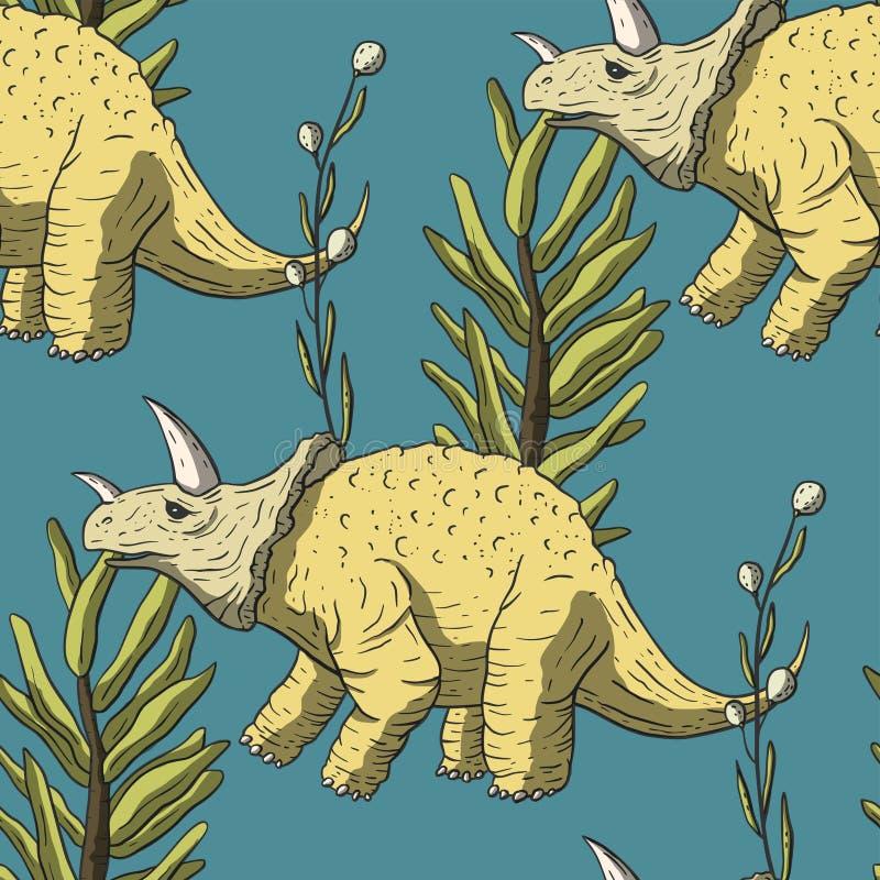 Het Naadloze patroon van de Triceratopsdinosaurus royalty-vrije illustratie